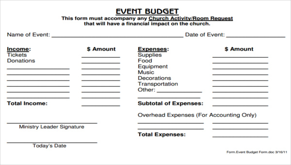 5 Church Budget Form Sample Free Sample Example Format Download