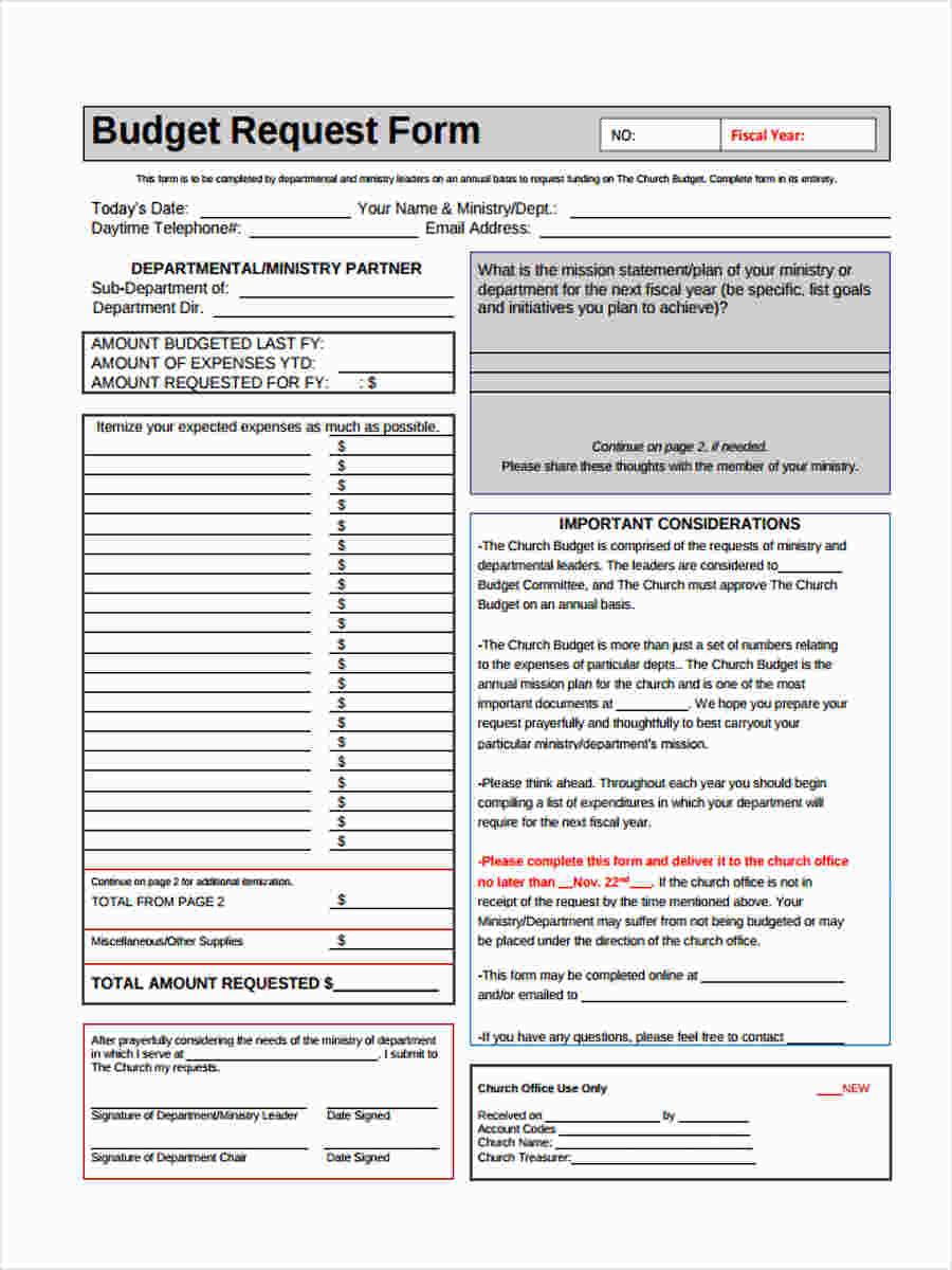 online budget form