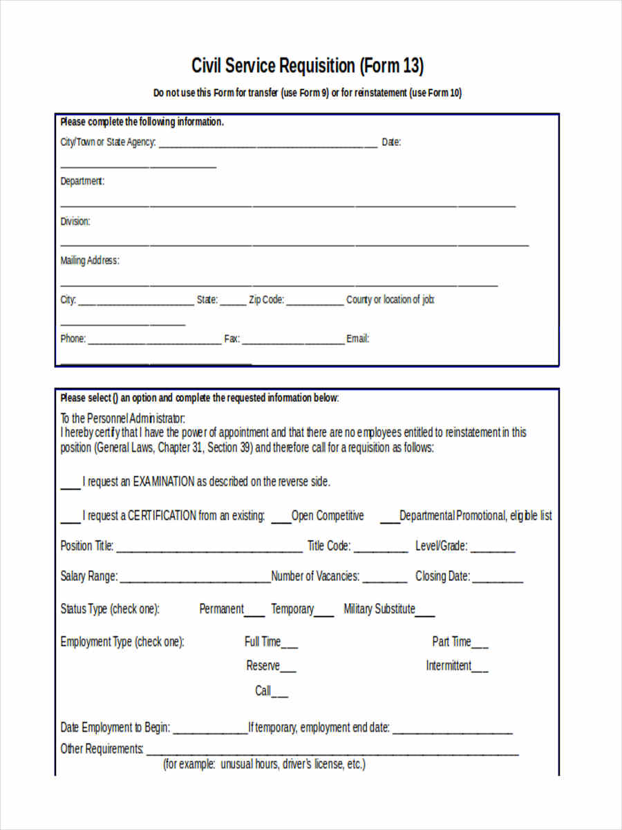 9  service requisition form samples