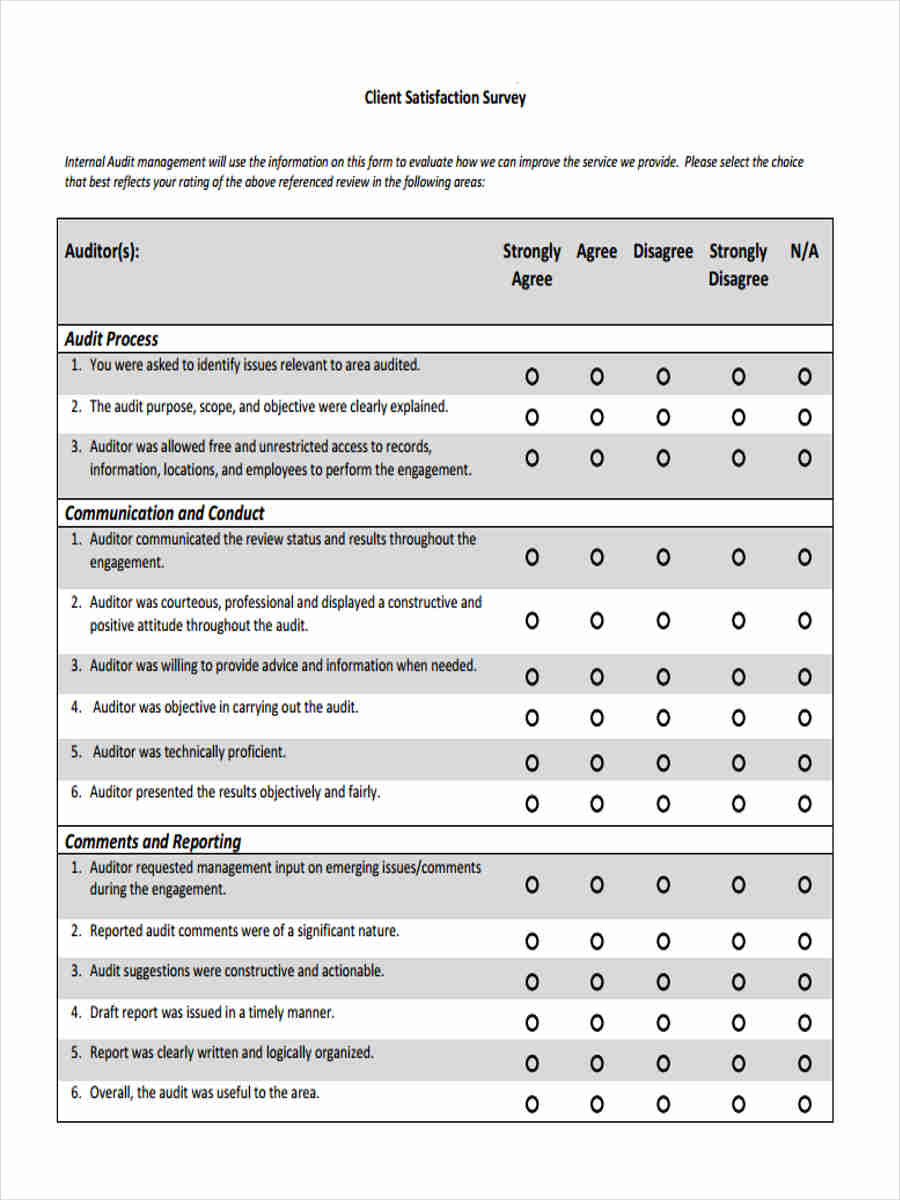 free 6  client satisfaction questionnaire forms in pdf