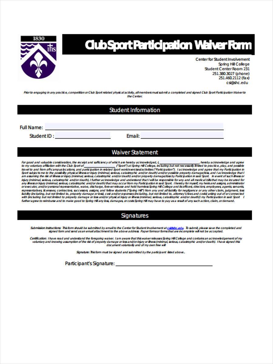 club sport participation waiver