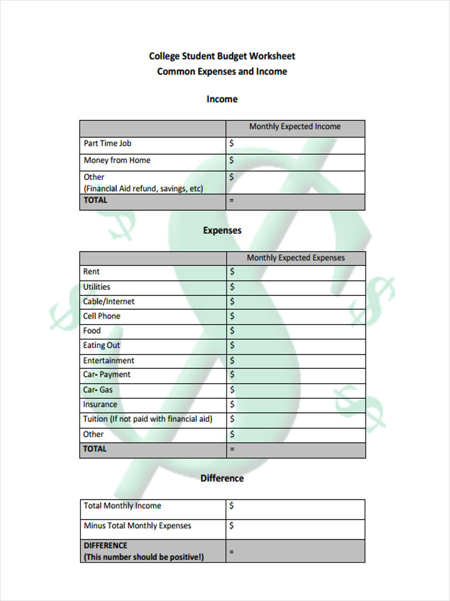 8 Student Budget Form Sample Free Sample Example Format Download – College Student Budget