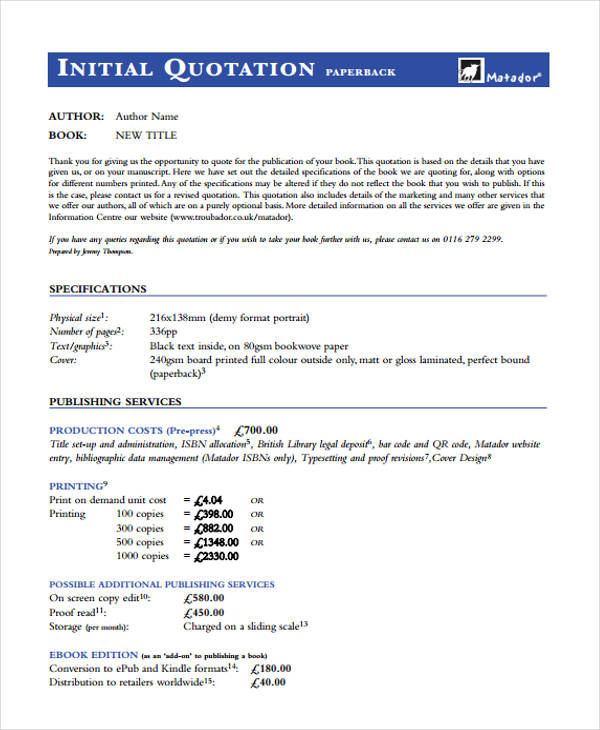 7 Company Quotations Free Sample Example Format Download – Company Quotation Format