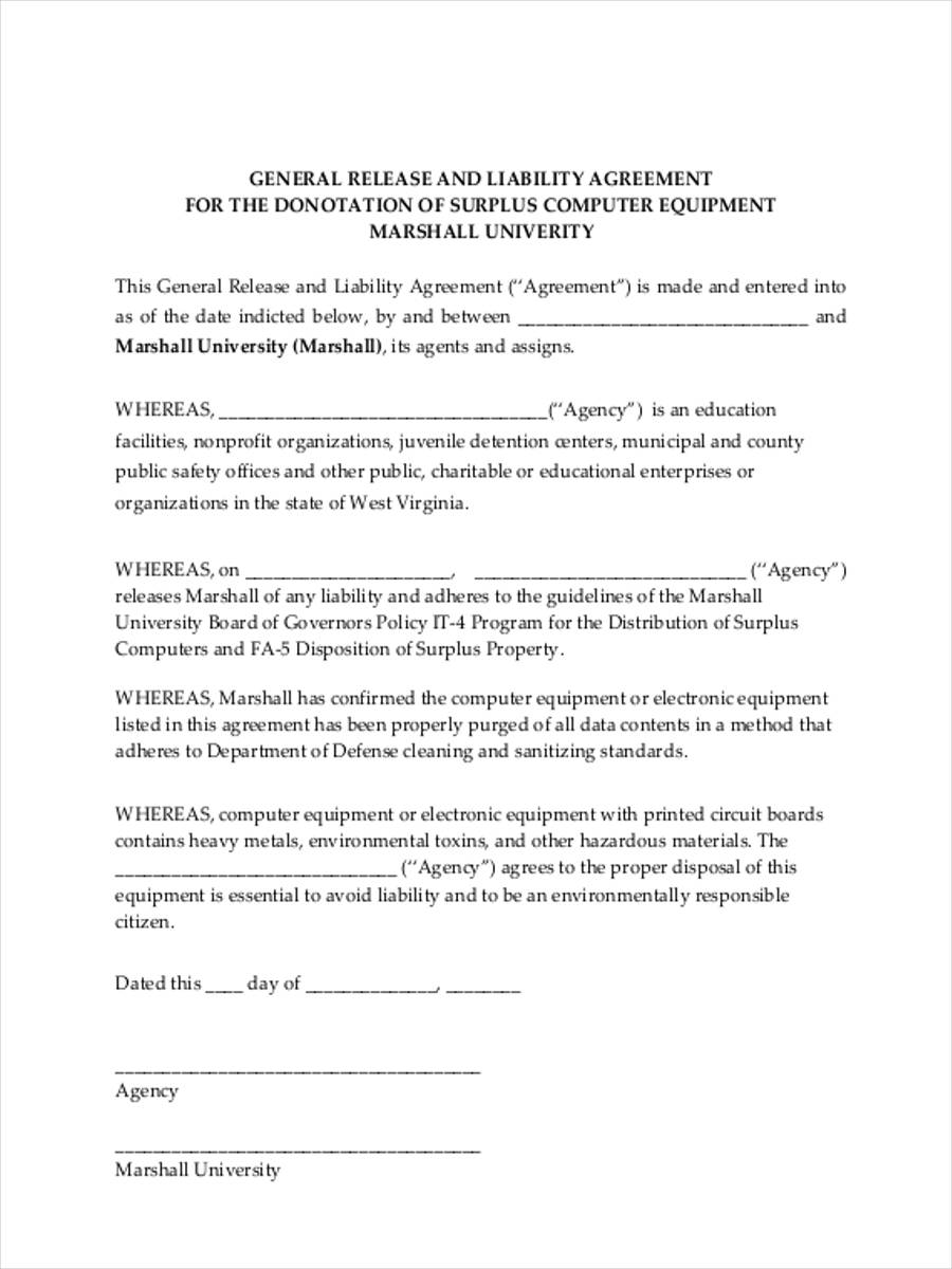 22 Liability Form Templates – Release of Liability Agreement
