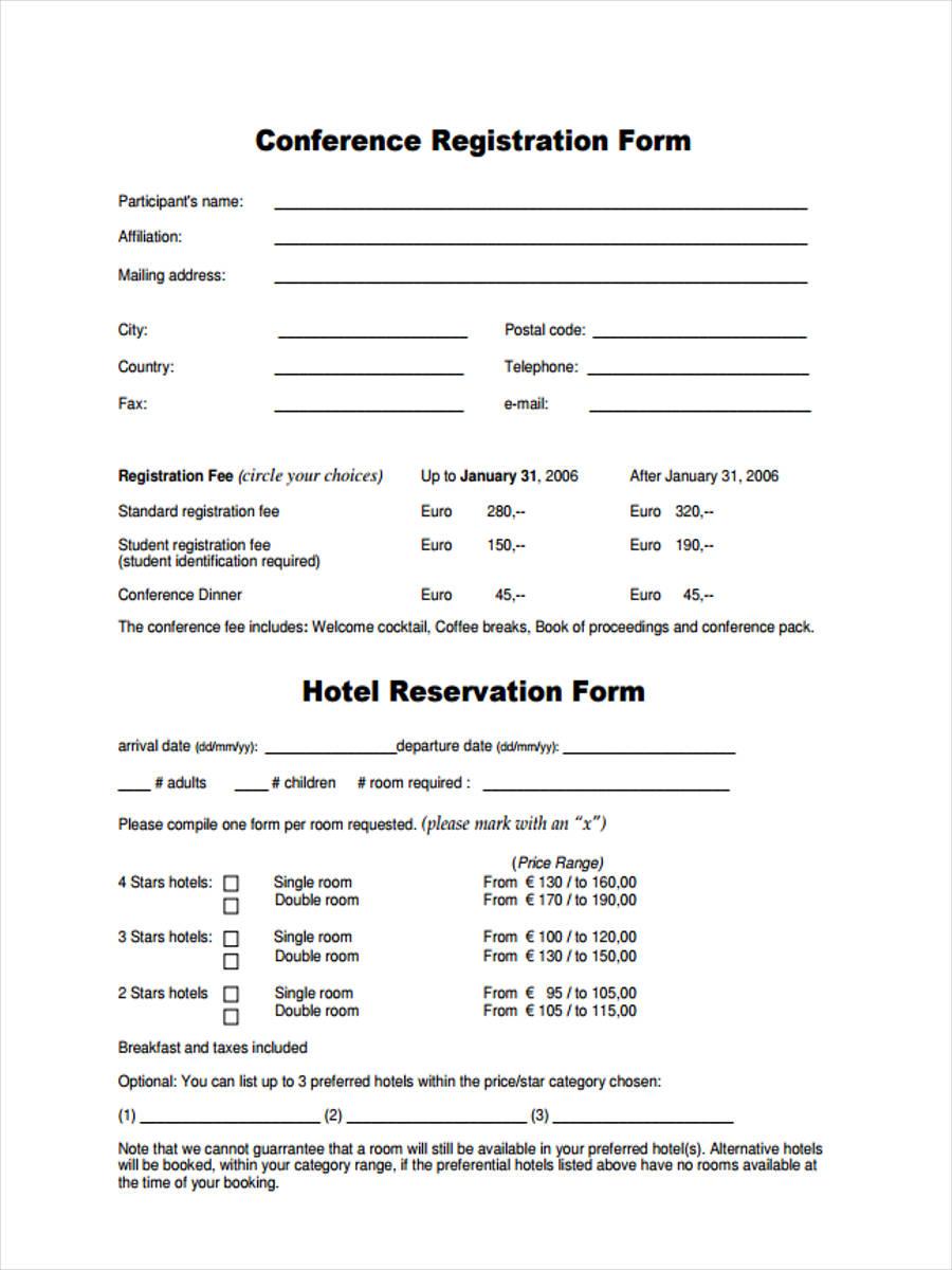 conference registration form hotel