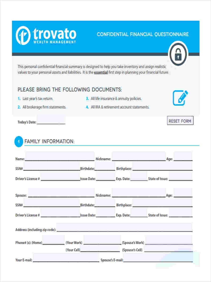 confidential financial questionnaire
