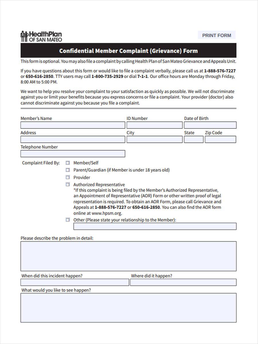 confidential member form