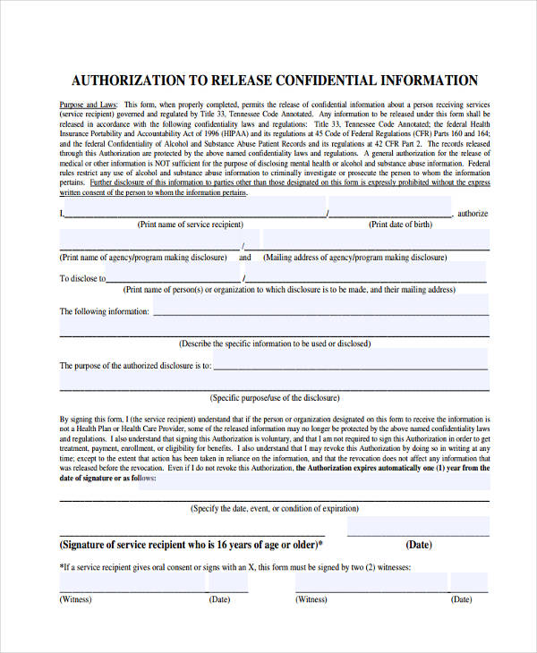 confidential release of information