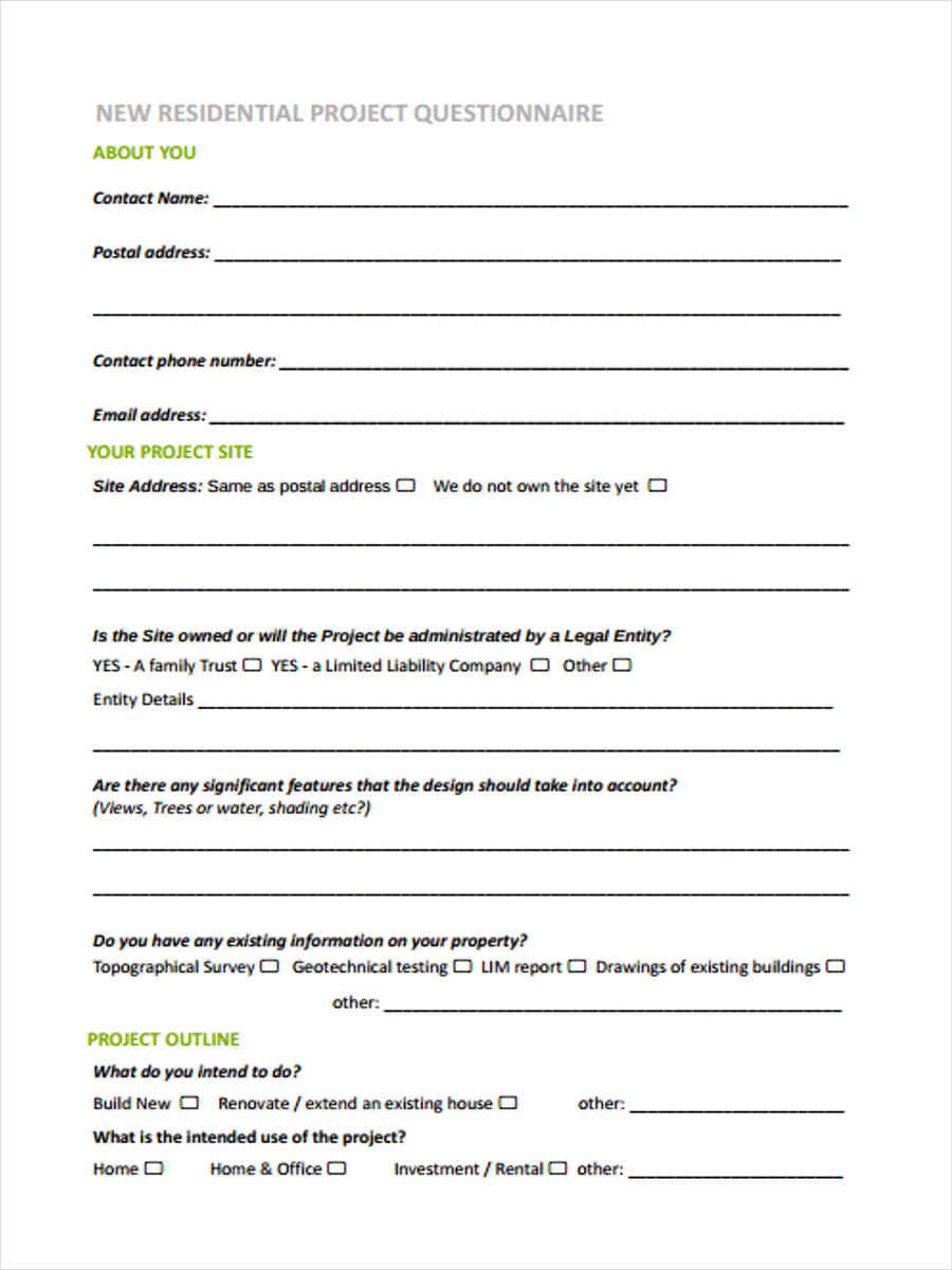 Interior design client intake form for Home decor questionnaire