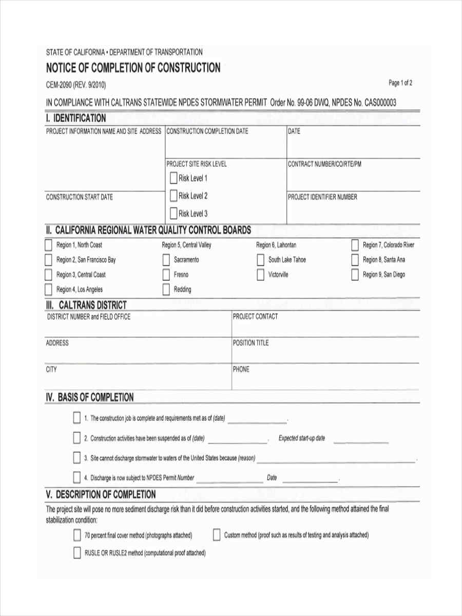 FREE 6 Notice Of Pletion Forms In MS Word