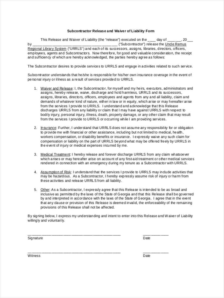doc7201024 basic liability waiver form sample proposal