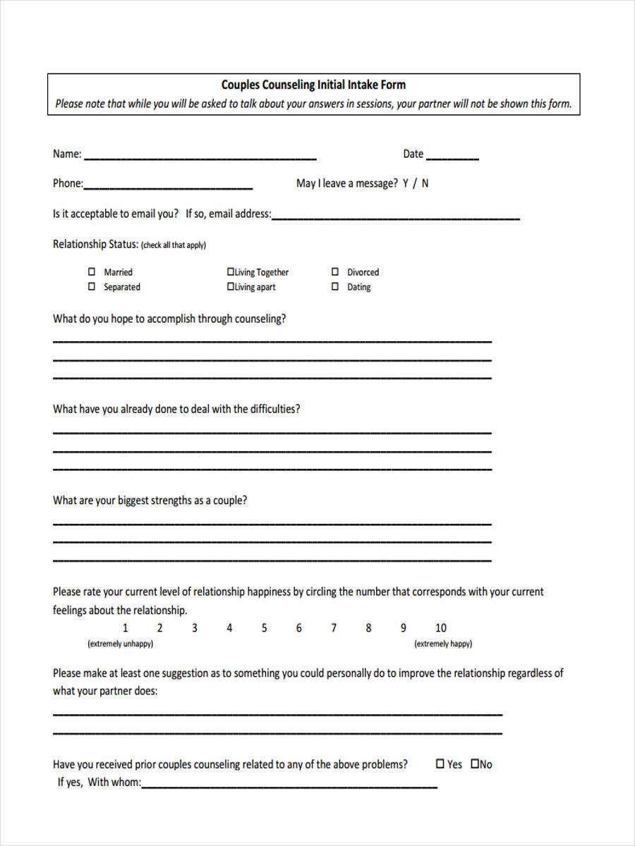 8+ Counseling Intake Forms - Free Sample, Example Format Download
