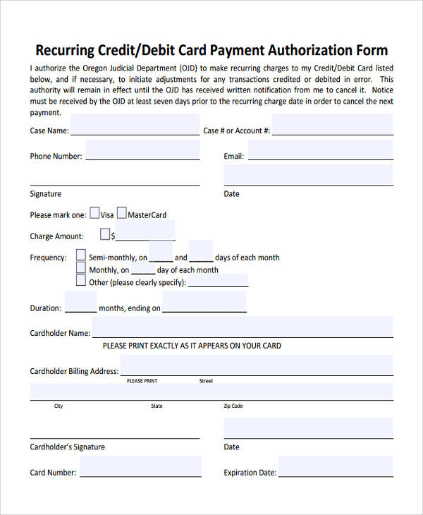 credit card recurring payment