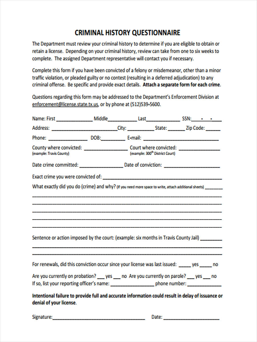 Criminal-History Job Application Form Download on sonic printable, blank generic, free generic, big lots, part time,