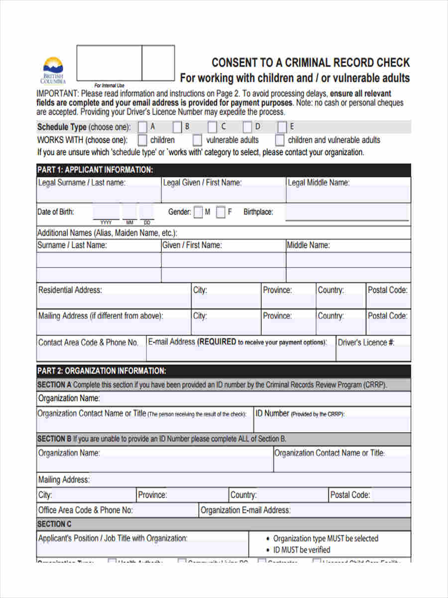 criminal record form