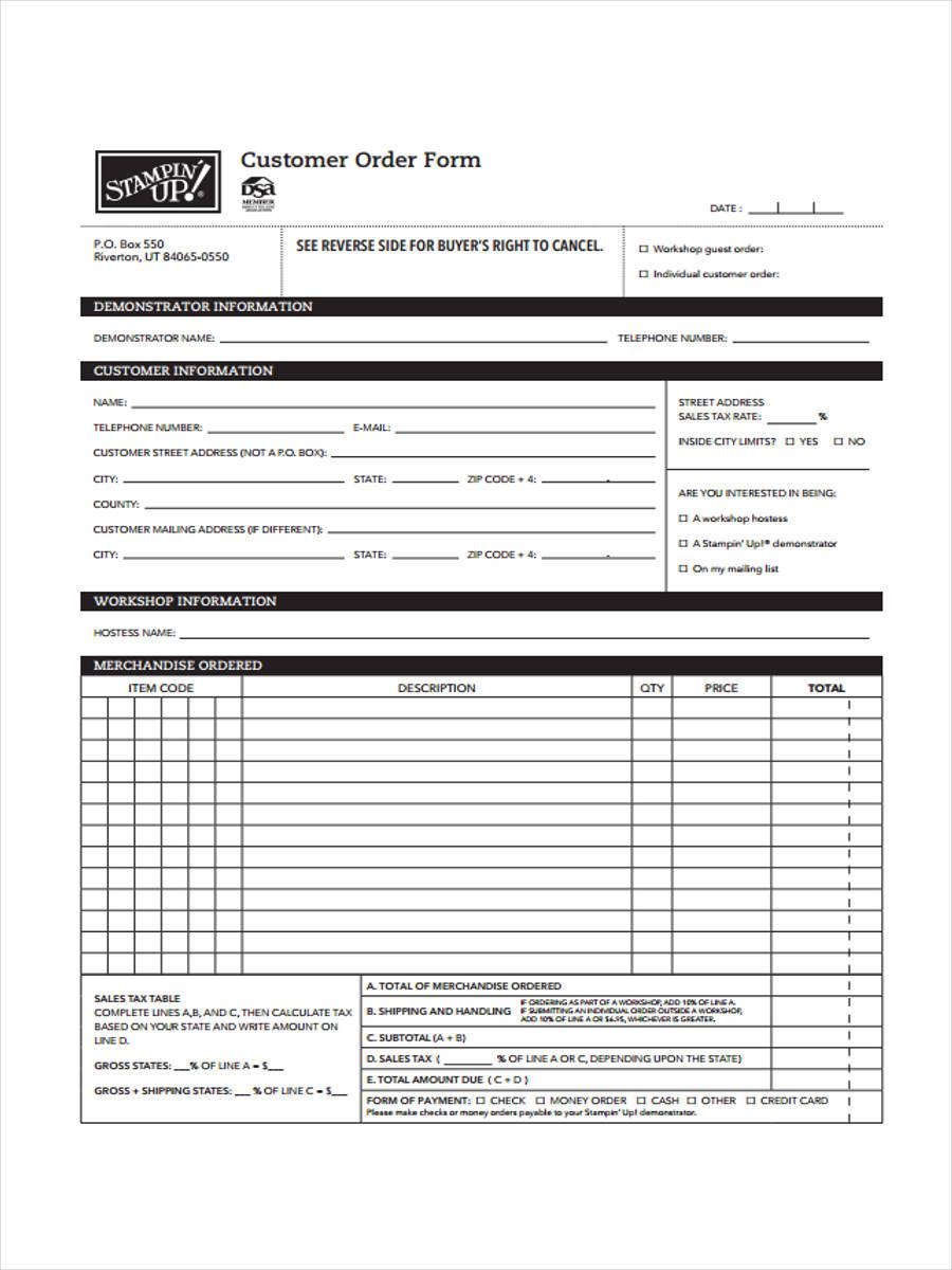 customer order form1