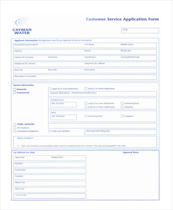 Customer Service Form  Free Documents In Word Pdf