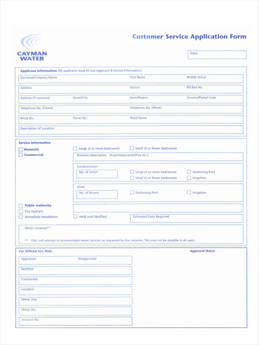 Customer-Service-Application1 Sample Application Form For Employees on performance evaluation, status change, contact information, vacation request, emergency contact, performance appraisal, medical release, accident report, warning notice,