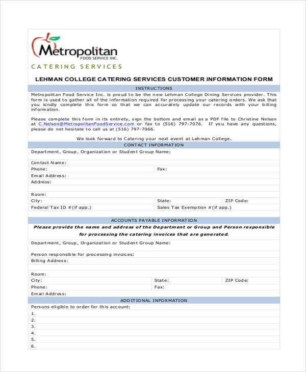 Customer Service  Customer Contact Information Form
