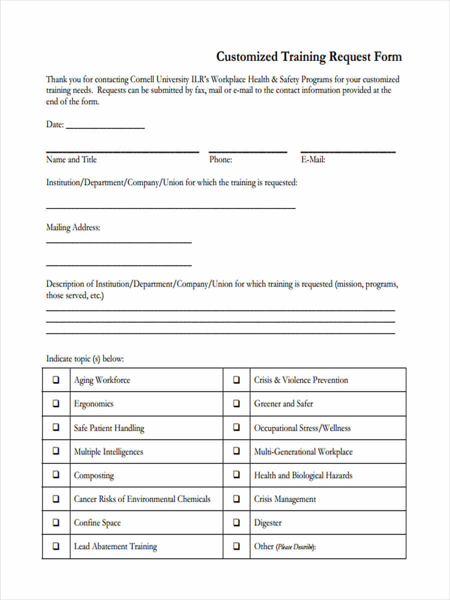 customized training form