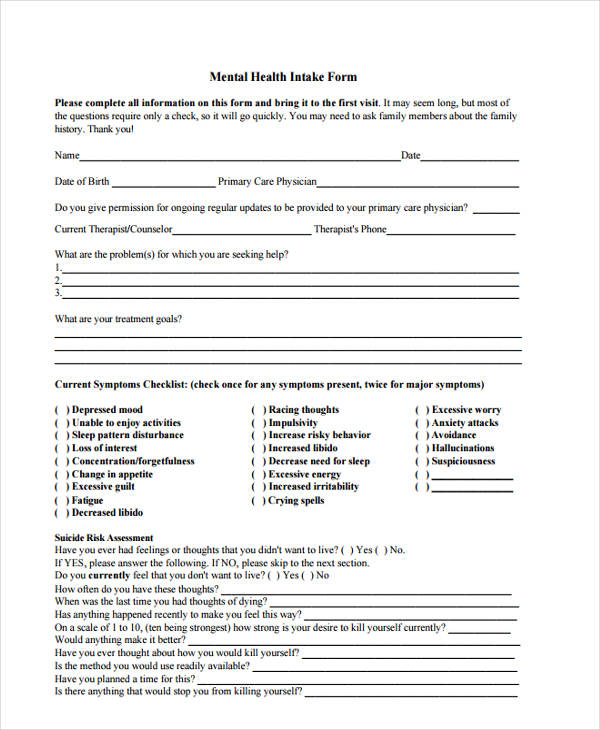 35+ Health Assessment Form Templates