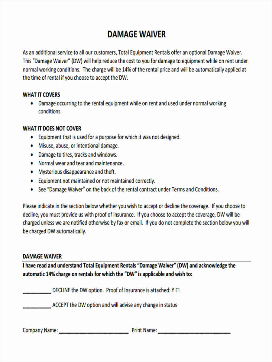 damage waiver form 6 Damage Waiver Form - 5 Free Documents in Word, PDF