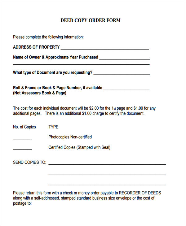 deed copy order form