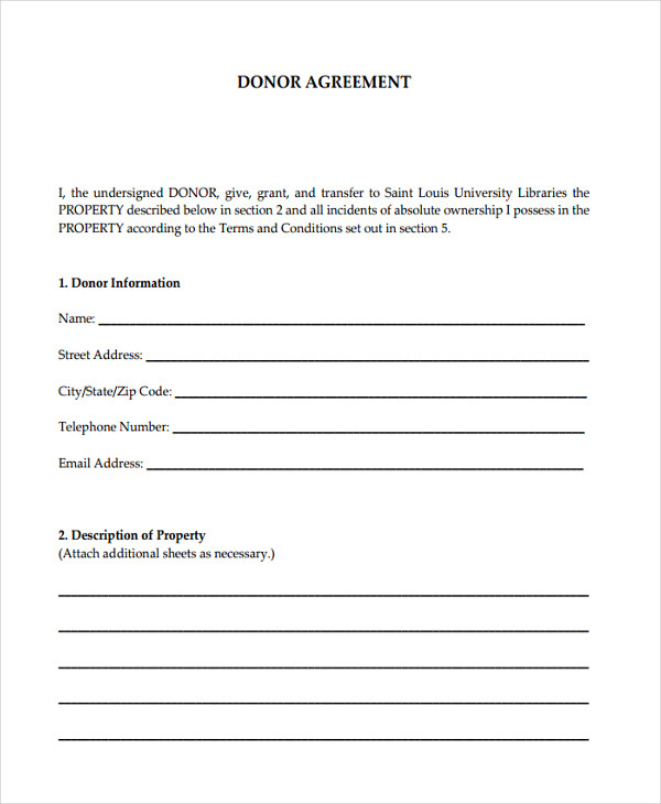 deed donor agreement