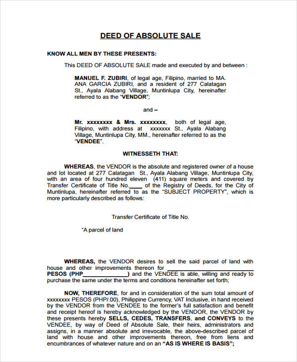 deed of sale form
