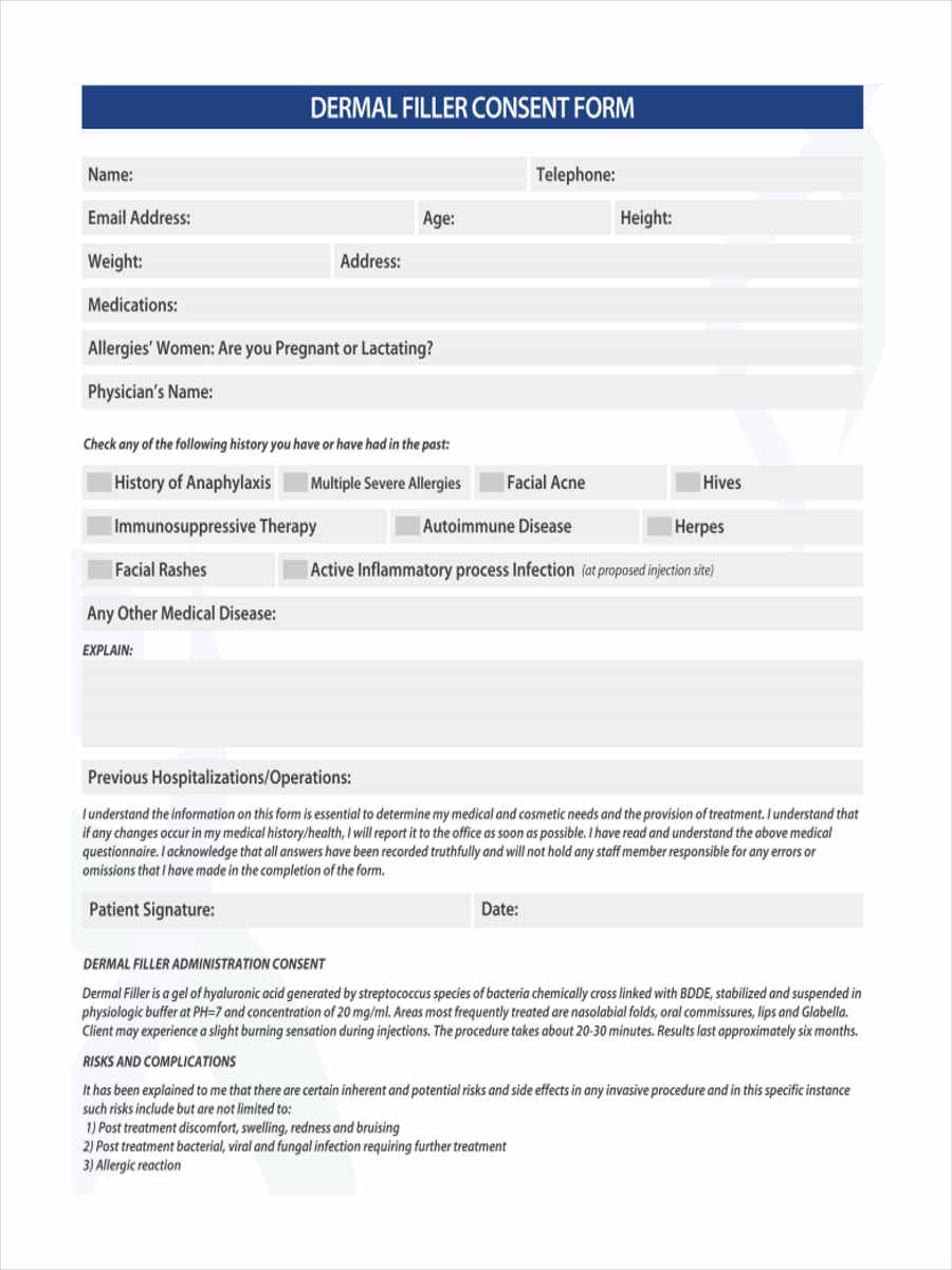 5+ Dermal Filler Consent Forms - Free Sample, Example Format