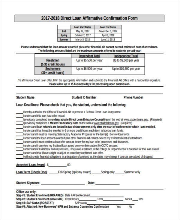 free 8  loan confirmation forms in samples  example  formats