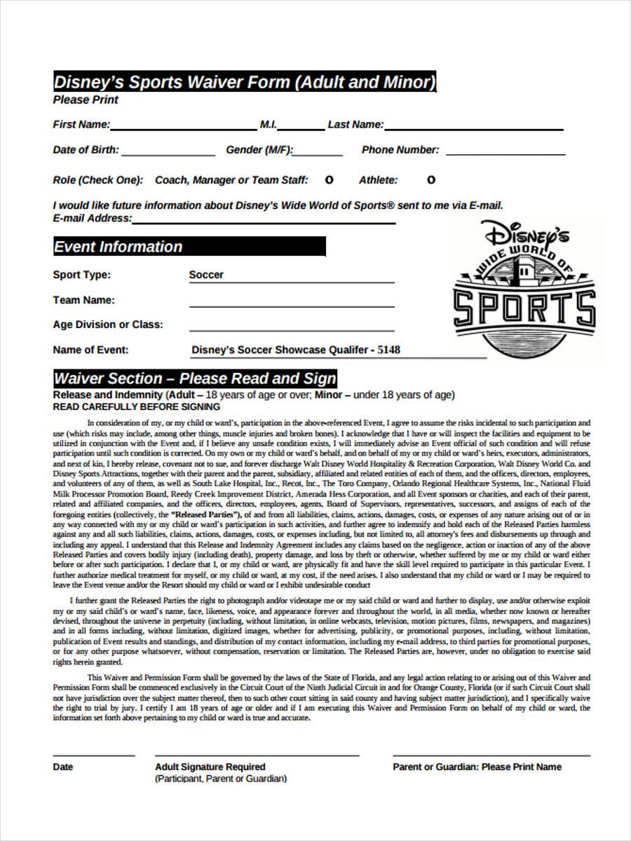 disneys sports waiver