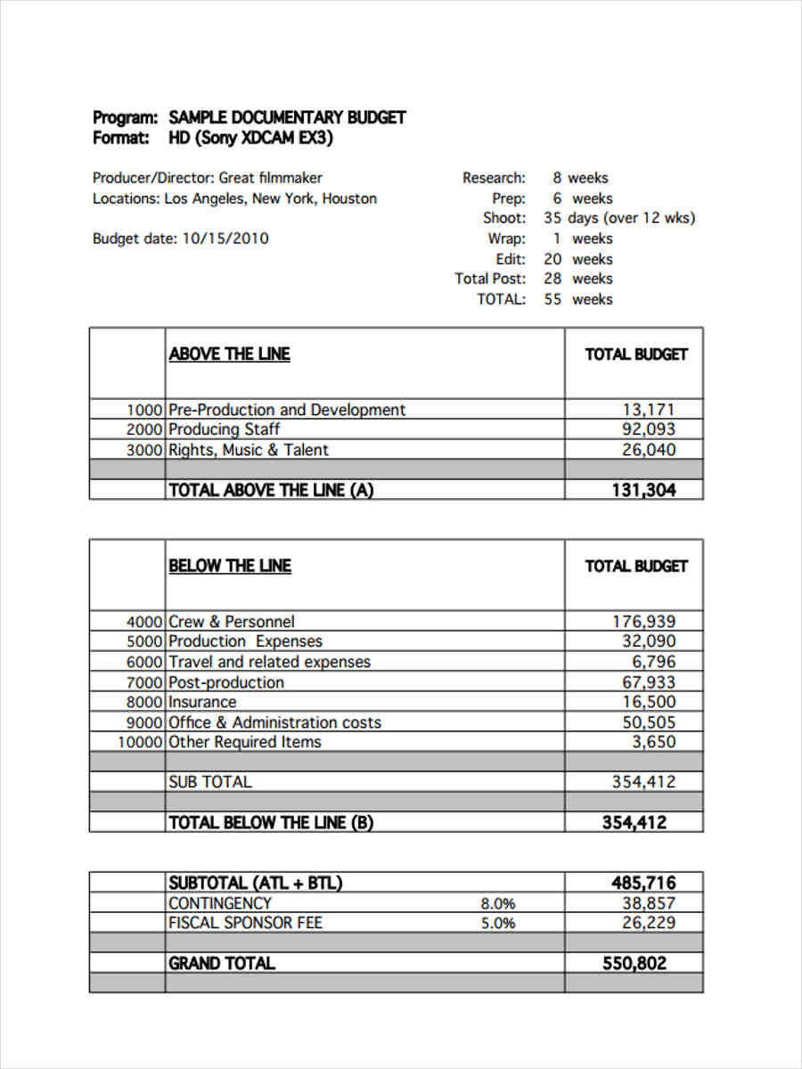 documentary film budget form