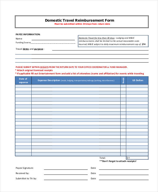 domestic travel reimbursement