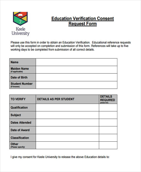 8+ Education Verification Form - Free Sample, Example, Format Download