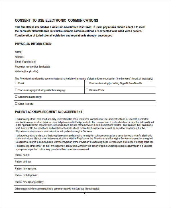 electronic medical consent form