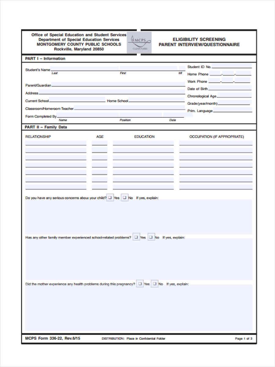 eligibility parent interview