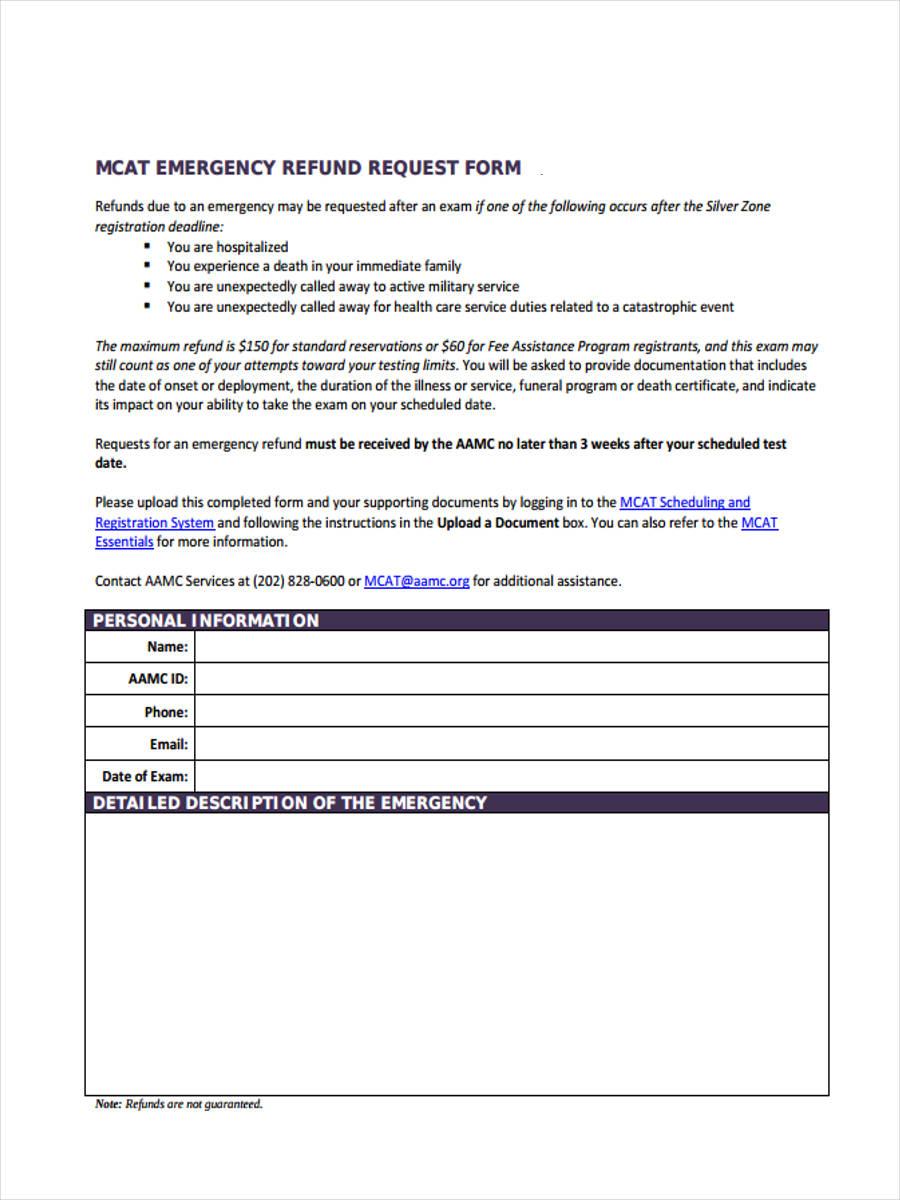 emergency refund request