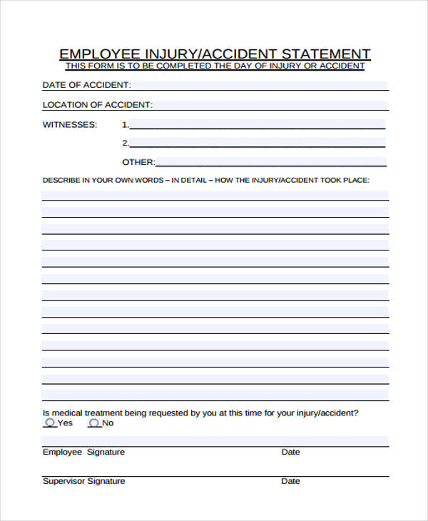 Statement Form | Employee Accident Statement