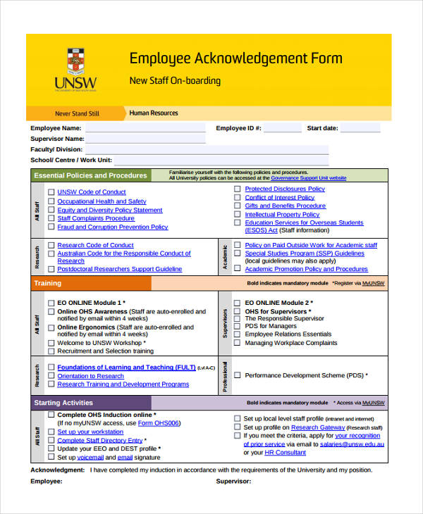 employee acknowledgement statement