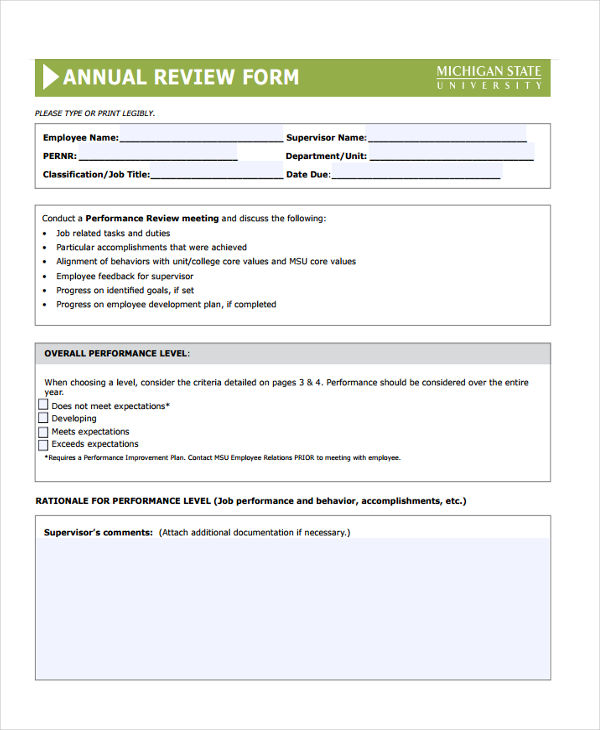 Annual Review Forms   Free Documents In Word Pdf