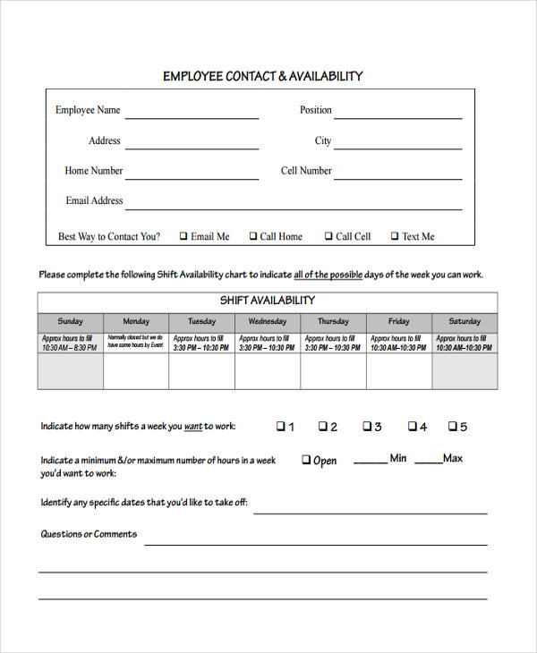 free 15  employee availability forms in pdf