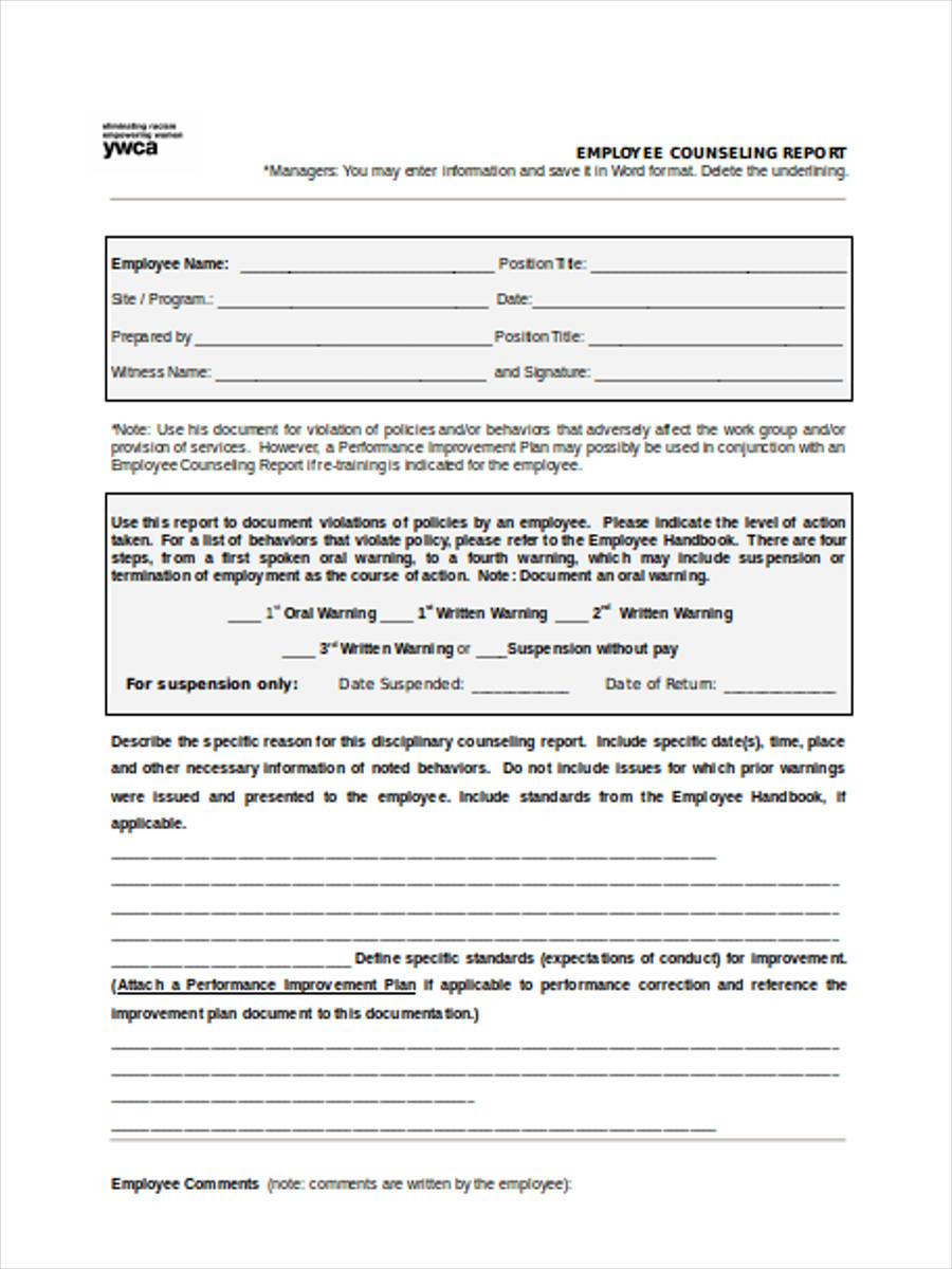 9 Employee Counseling Forms Free Sample Example Format Download – Employee Counseling Form