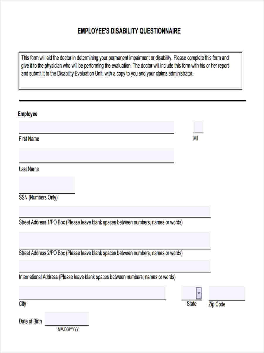 employee disability questionnaire