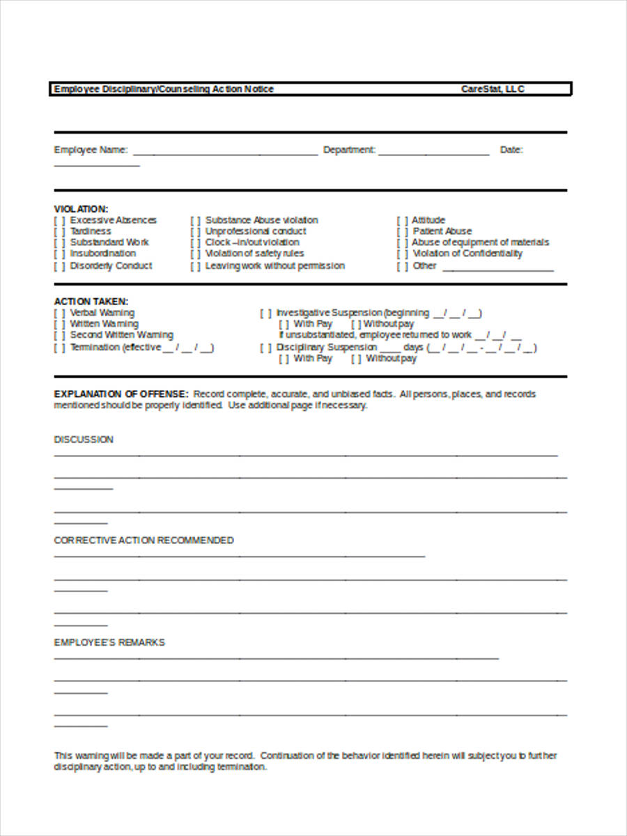 Free 8  Employee Counseling Forms In Pdf