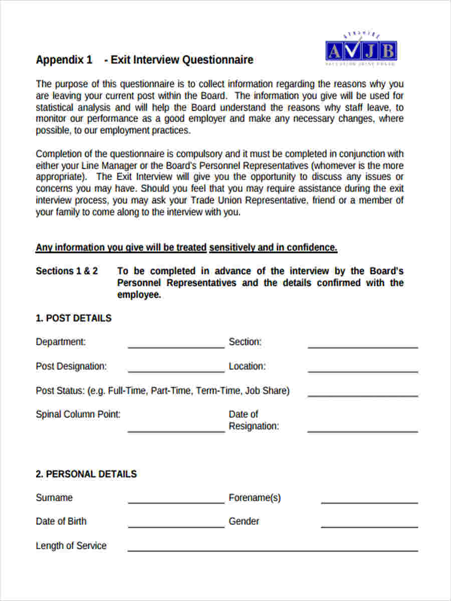 6 Exit Interview Questionnaire Form Samples Free Samples Employee Exit  Interview Questionnaire Exit Interview Questionnaire Form  Employee Details Form Sample