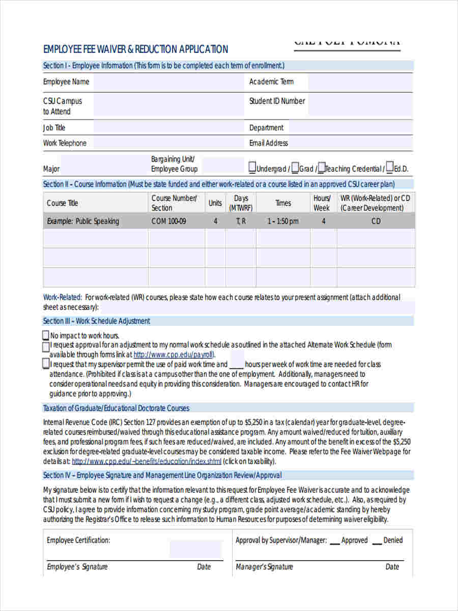 8 employee waiver form samples free sample example format download employee fee waiver application altavistaventures Image collections
