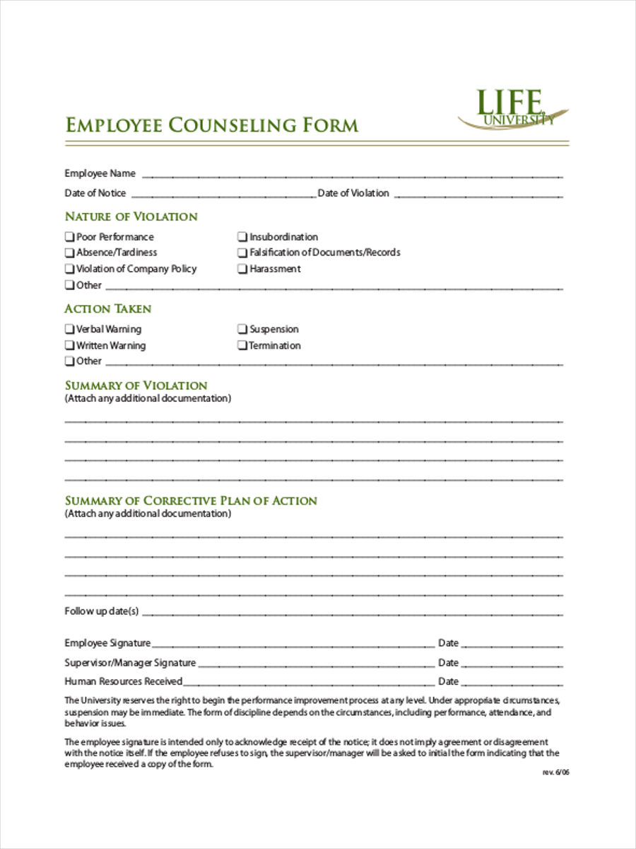 34+ Counseling Form Templates