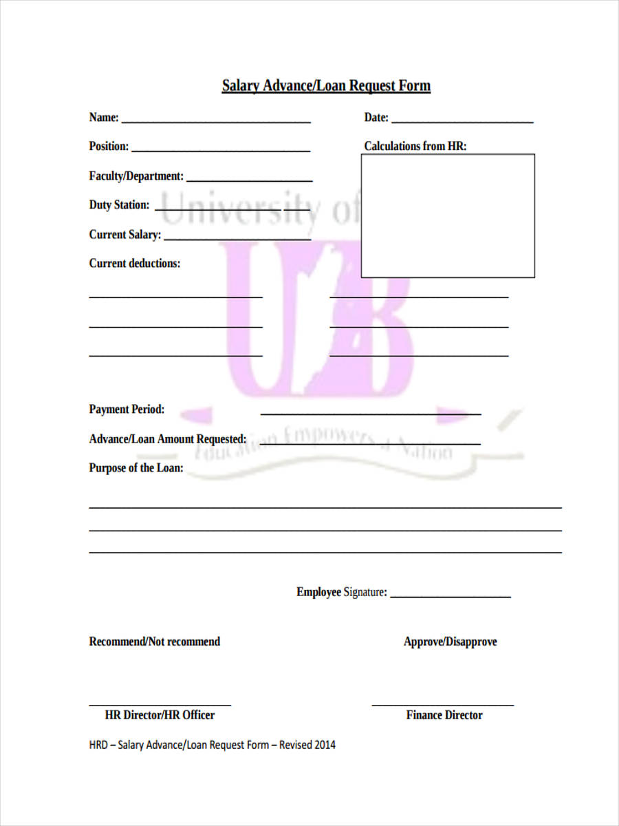 employee loan requisition