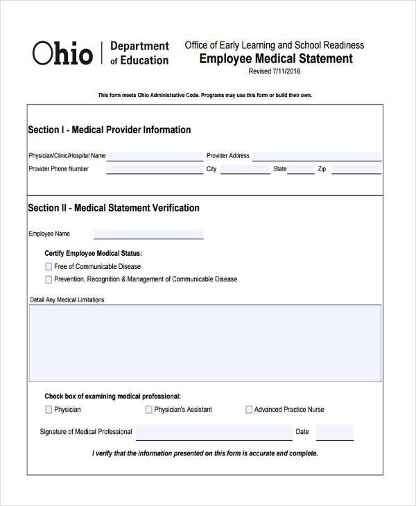 employee medical statement1